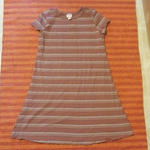 Xhiliration Striped Dull Pink Dress